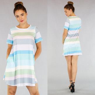 NEW1305 Locker geschnittenes Kleid mit bunten Streifen