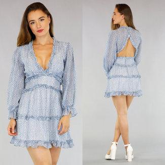 Light Blue Chiffon Leopard-Kleid Sexy Back