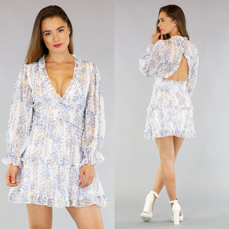 NEW1305 Weiß Chiffon-Druck-Kleid Sexy Back