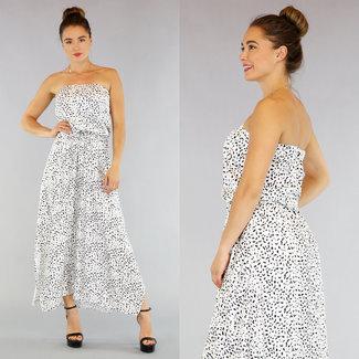 NEW1305 Weiß Bandeau-Kleid mit Leopardenmuster