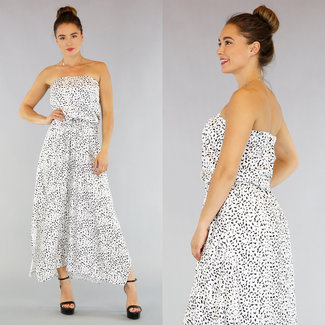 Weiß Bandeau-Kleid mit Leopardenmuster