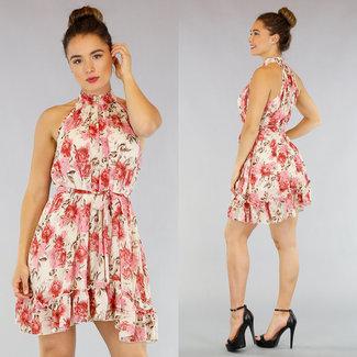 NEW1305 Creme Blumendruck-Kleid mit Rüschen