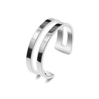 NEW1305 Basic Doppel Edelstahl-Silber-Ring