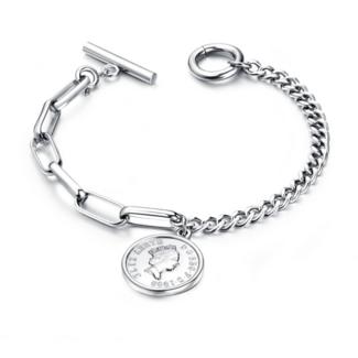 Silber-Armband mit Verschluss und Münze