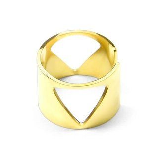 NEW2005 Wide Open Ring mit Gold Triangles