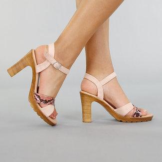 NEW2005 Rosa Wildleder Blockabsatz Sandalen mit Schlangenmuster