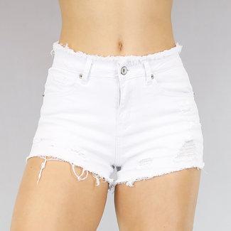 Weiße Jeans Short mit Tränen