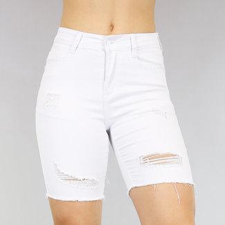 NEW2705 Weißen Jeans Bermuda mit Tränen