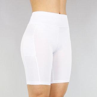 NEW2705 Elastik weiß Sport-Hosen mit Taschen