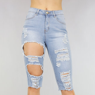 NEW2705 Hohe Taille Beschädigt Jeans Bermuda