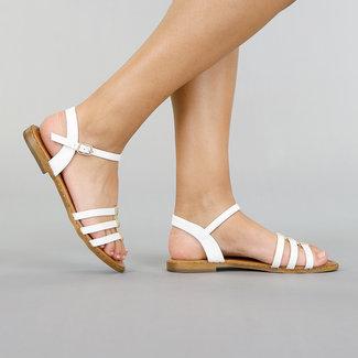 NEW2705 Weiß Kunstleder Sandalen mit Riemen