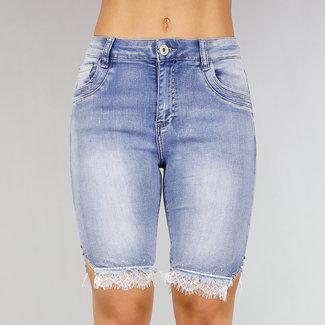 NEW0306 Bermuda-Jeans mit Strass und Spitze