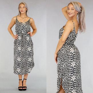 NEW0306 Langes Kleid mit Leopardenmuster