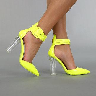 NEW0306 Neongelb Sandalen mit See-Through Hak