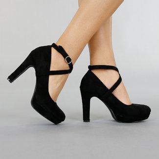 Schwarz Veloursleder-Optik Sandalen mit Knöchel