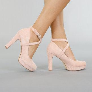NEW0306 Hellrosa Veloursleder-Optik Sandalen mit Knöchel
