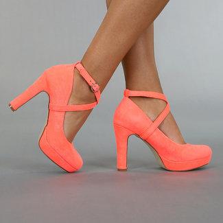 Coral Veloursleder-Optik Sandalen mit Knöchel