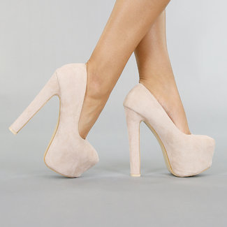 Beige Veloursleder-Optik Sandaletten mit Hochplateau