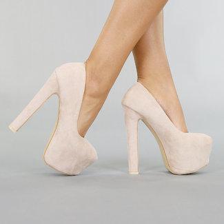 NEW0306 Beige Veloursleder-Optik Sandaletten mit Hochplateau
