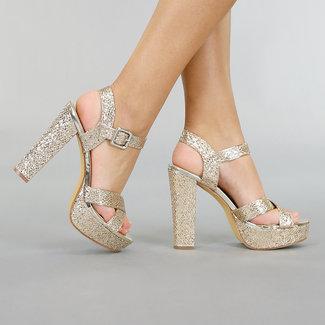 Gold Glitter Sandalen mit Plateau