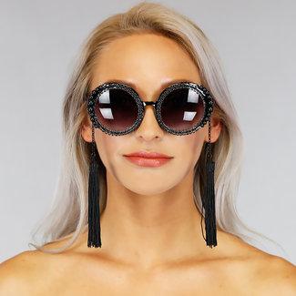 NEW0306 Runde schwarze Sonnenbrille mit Perlen und Strass