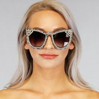 NEW0306 Grove Katzenaugen-Sonnenbrille mit Perlen