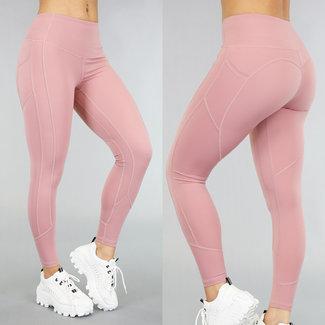 NEW1006 Rosa Sport Leggings mit Taschen
