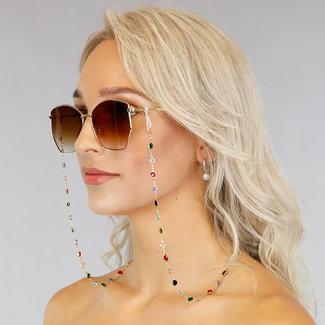 NEW1006 Gold Sonnenbrille Cord mit farbigen Steinen