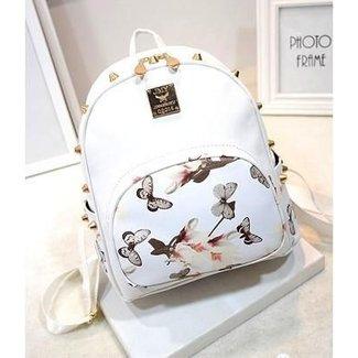 NEW1706 Weiß Wetlook Mini-Rucksack mit Blumen