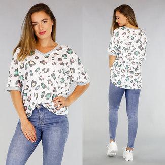 NEW1706 Übergroße Stretch-Shirt mit Leopardenmuster