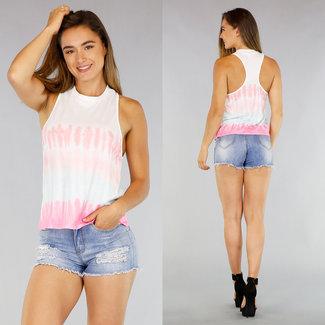 Weiß mit Pink Tie Dye Vest