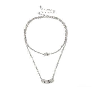NEW1706 Doppel-Silber-Halskette mit Würfel