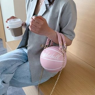NEW3006 Lederlook Baseball-rosa Handtasche