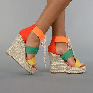 NEW3006 Multi Color-Keil-Sandalen mit Spitze