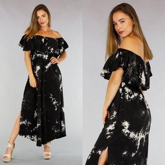 !OP=OP Black Tie Dye Off-Schulter-Maxi-Kleid
