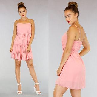 NEW0107 Hellrosa Chiffon-Kleid mit Rüschen