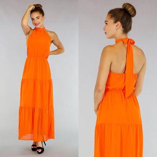 NEW0107 Orange Halter Chiffon Maxi-Kleid