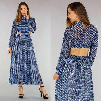 NEW0107 Drucken Blau Maxi-Kleid mit Cut