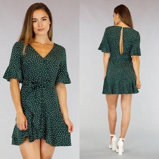 NEW0107 Grün-Punkte-Kleid mit Wrap