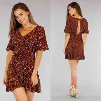 NEW0107 Brown-Punkt-Kleid mit Wrap
