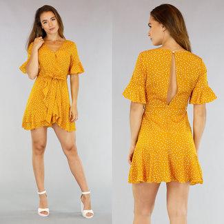 NEW0107 Ochre Dots Kleid mit Wrap