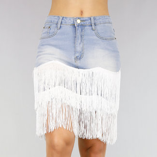 NEW0107 High Waist Denim-Rock mit Fransen