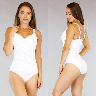 NEW0107 Weiß Plissee-Badeanzug mit Transfer-