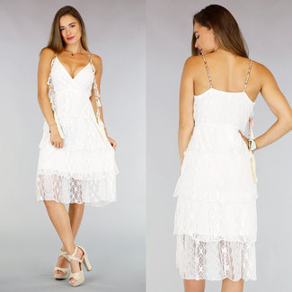 NEW0107 White Lace Boho Sommer-Kleid Quasten