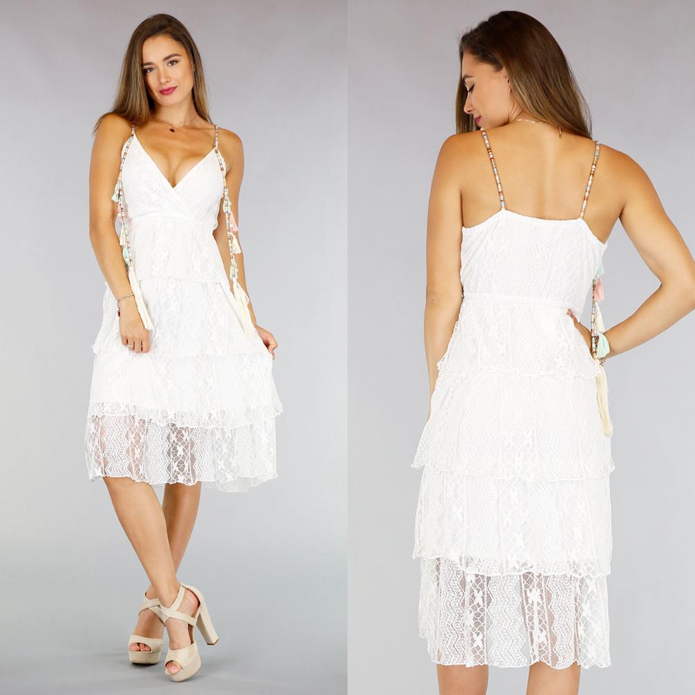 white lace boho sommer-kleid quasten