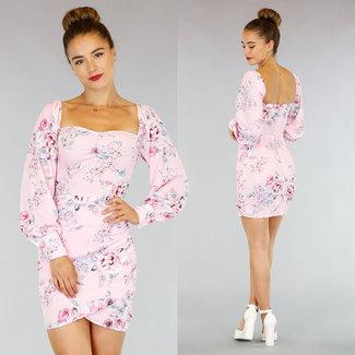 !OP=OP Hellrosa Blumendruck-Kleid Puffärmeln