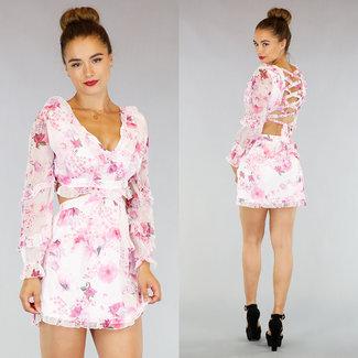 !OP=OP Hellrosa Blume Chiffon-Kleid mit raffiniertem Rücken