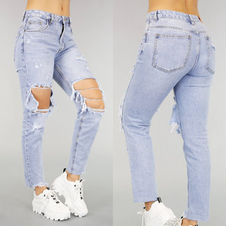 NEW0107 Medium Taille Boyfriend-Jeans mit Rissen