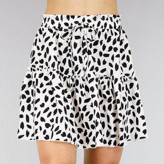 NEW0107 Weiß Leopard Faltenrock