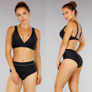 NEW0807 Schwarz mit hohen Taille Bikini Zick-Zack-Detail